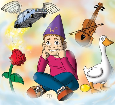 boy sitting wearing magicians pointed hat legs crossed elbows on knees head on fists grinning goose golden egg rose flower flying car with wings violin and bow